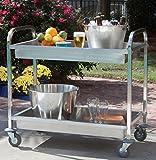 outdoor bar cart Bayou Classic 4873 Stainless Steel Serving Cart