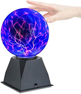 Hooyi 8 Inch Magic Plasma Ball Touch Sound Sensitive Plasma Desk Lamp Light Nebula Sphere Lightning Globe Home Decor Magical Ball electrostatic Flashing Balls Stem Science Nightlight Room Decorations