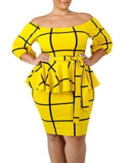 LALAGEN Women\'s Plus Size Cold Shoulder Peplum Dress Bodycon ...