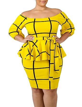 58b82449aad VINKKE Women s Plus Size Off Shoulder Peplum Dress Checked Bodycon Party  Dress