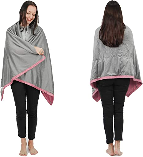 Tan Cordless Rechargeable Heated Shawl Blanket Machine Washable 70X60 Portable Poncho Wrap Super Soft /& Warm Fleece Home Office /& Travel Use Wearable Electric Blanket