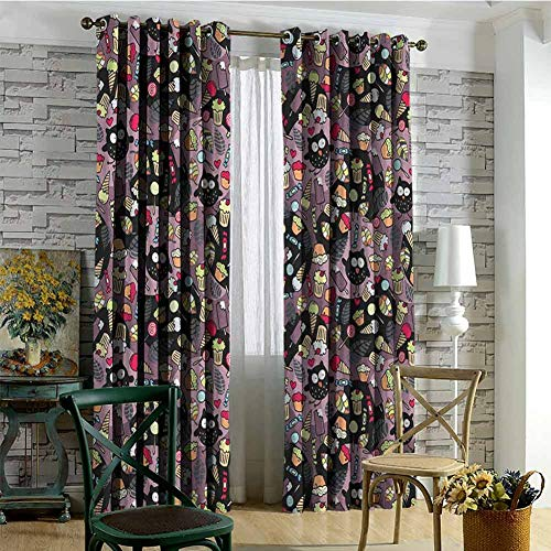 hengshu Owls 99% Blackout Curtains Crazy Owls and Tasty Delicious Sweets Cupcakes Ice Cream Candy and Abstract Leaves for Bedroom Kindergarten Living Room W84 x L108 Inch Multicolor (Snowman Made Out Of Cups For Door)