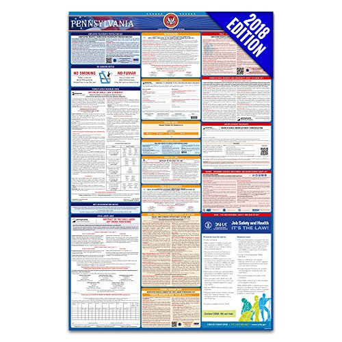 2018 Pennsylvania Labor Law Poster – State & Federal Compliant – Laminated (Ca Wage Poster Minimum)