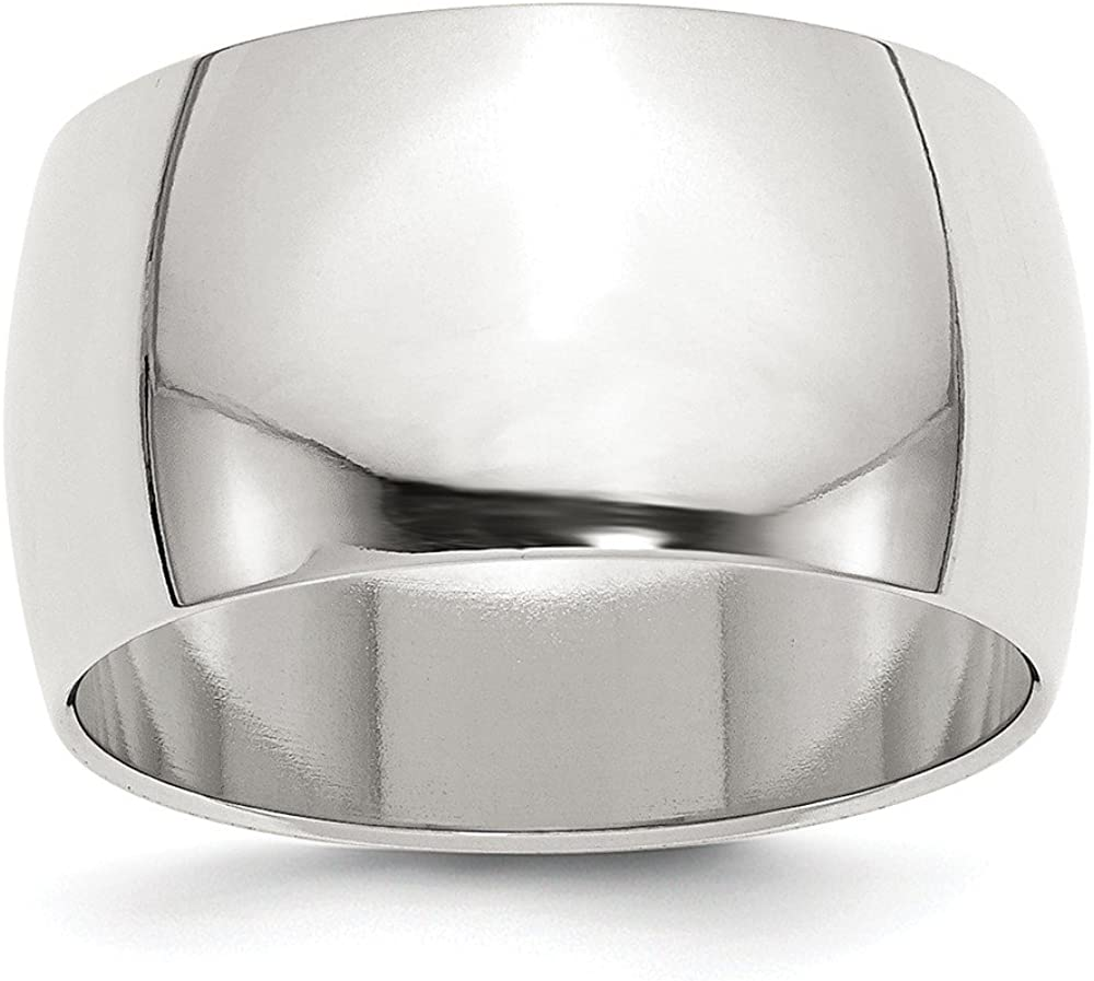 Solid 925 Sterling Silver 12mm Half Round Wedding Band