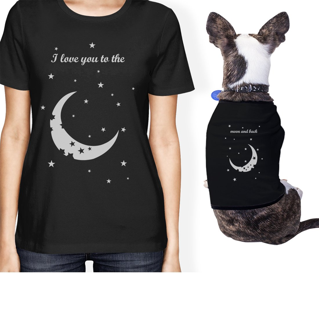365 Printing Moon And Back Small Pet Owner Matching Gift Outfits Womens T-Shirt (ONWER - XL / PET - M) by 365 Printing