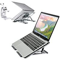 Laptop Stand Foldable Laptop Notebook Holder Portable Laptop Riser for Desk Anti-Slip 5 Adjustable Level with Phone Ipad…