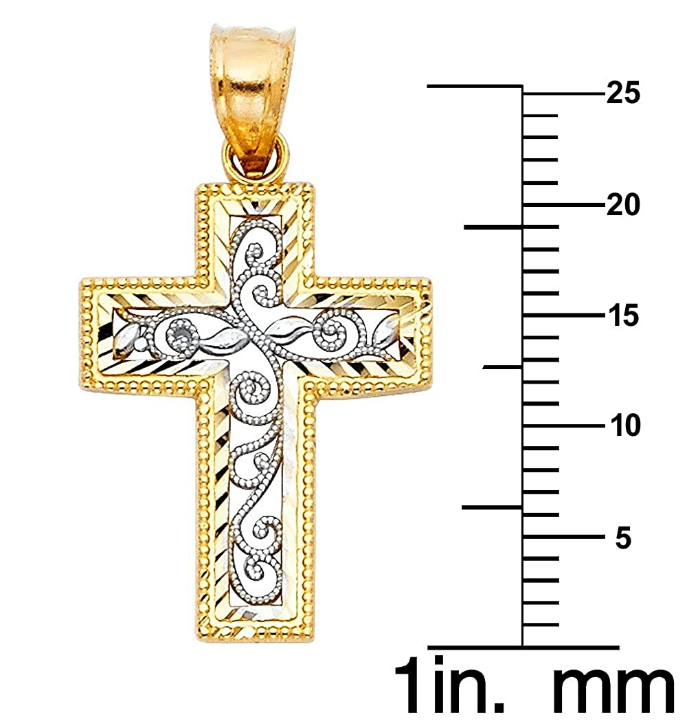 14k Two-tone Gold Floral Vine Ornate Cross Pendant with 0.8-mm Square Wheat Chain