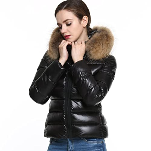 Coversolate Las nuevas mujeres del invierno abajo de algodón Parka corto de piel de cuello de piel c...