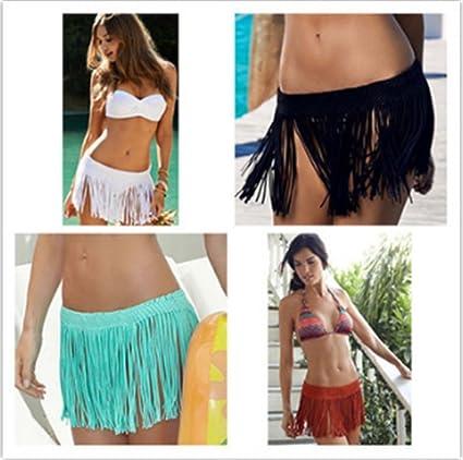 Yarbar Donne Ragazze Uncinetto Frangia Corta Gonna Costume da Bagno Bikini Coprire Estate Beachwear