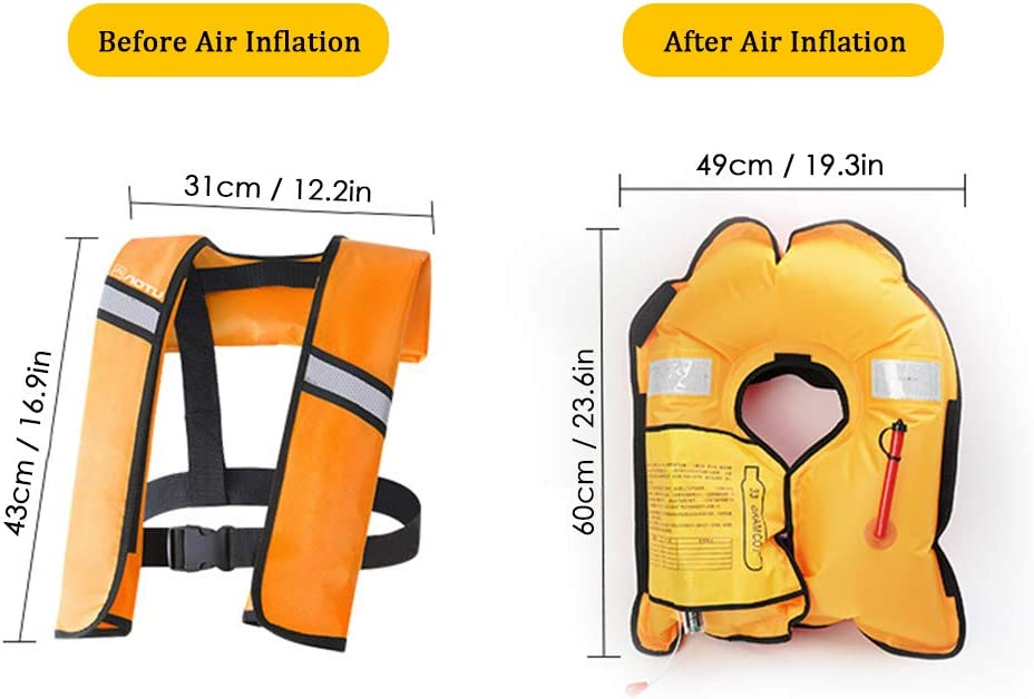 Roeam Automatic Inflatable Life Jacket Vests Tear-Resistant TPU Adult Life Vest Water Sports Swimming Fishing Survival Jacket for Adults Weighing Under 330 pounds.