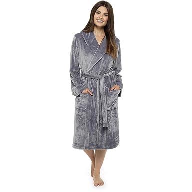 Womens Ladies Luxury Dressing Gown Hooded Bath Robe Moleskin Velvet ...
