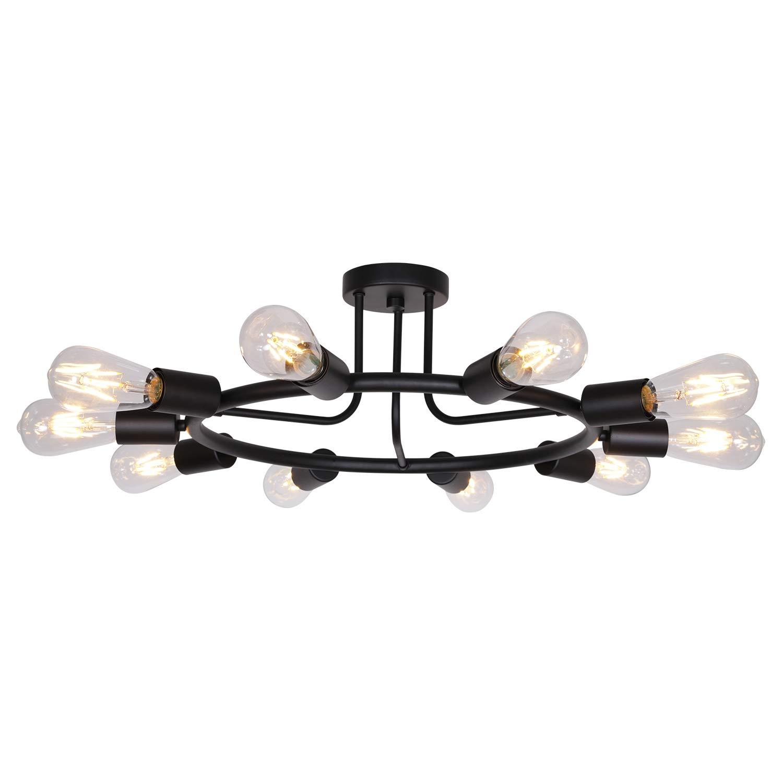 Bonlicht vintage metal large sputnik chandeliers 10 light flush mount light fixtures ceiling black indoor