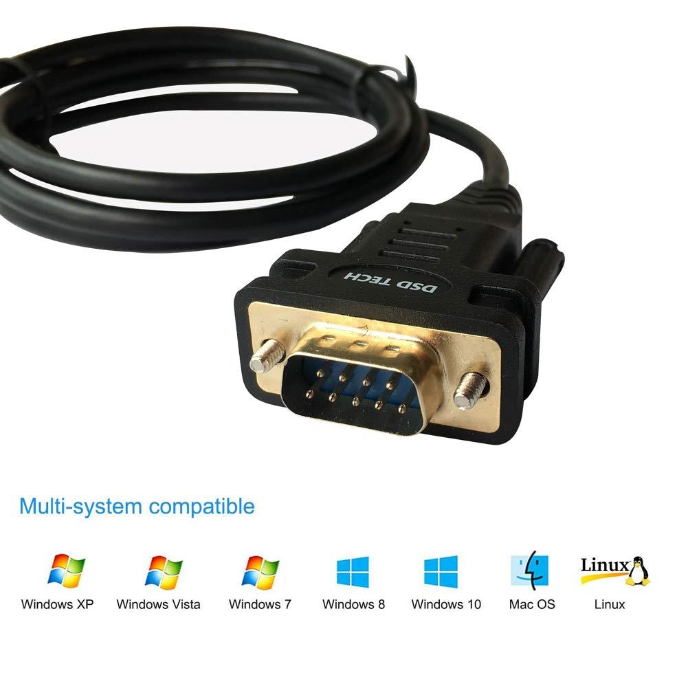 DSD TECH SH-RS232A Cavo Adattatore seriale DB9 da USB a RS232 con Chip FTDI FT232 per Windows Mac OS 5.9FT // 1.8M Linux