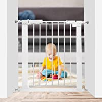 Xifamniy Extra Wide Walk Through Baby Gate Pressure Mounted 24.80-81.50inch White Metal Pet Child Safety for Door…