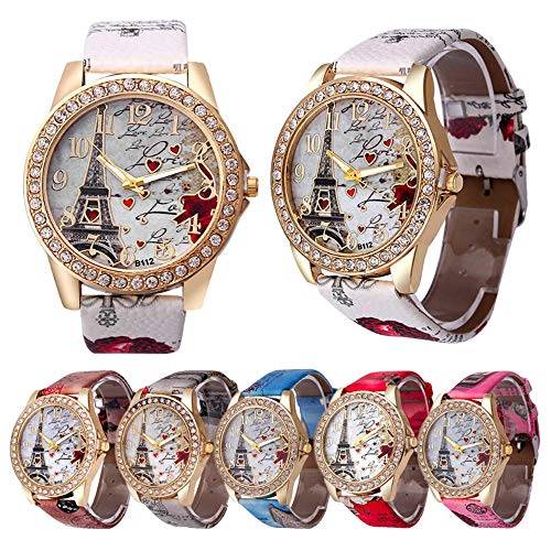 CdyBox Wholesale PU Leather Strap Watch 6 Pack Mother Day Gift Bling Rhinestone Accented Eiffel Tower Ladies Women Watches (Leather Wholesale Jewelry)