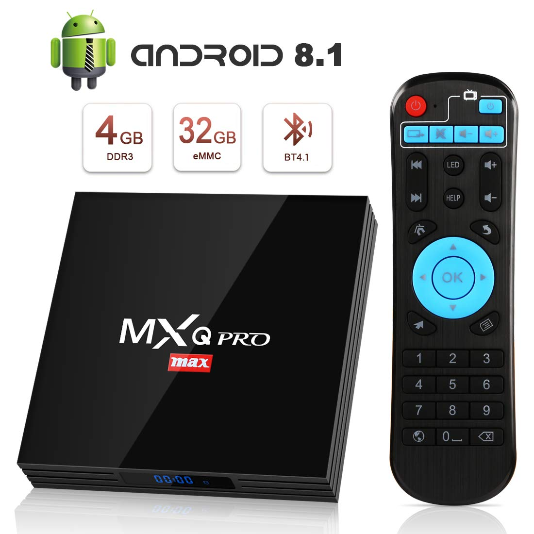 Android 8.1 TV Box, Superpow Smart TV Box Quad Core 4GB RAM+32GB ROM