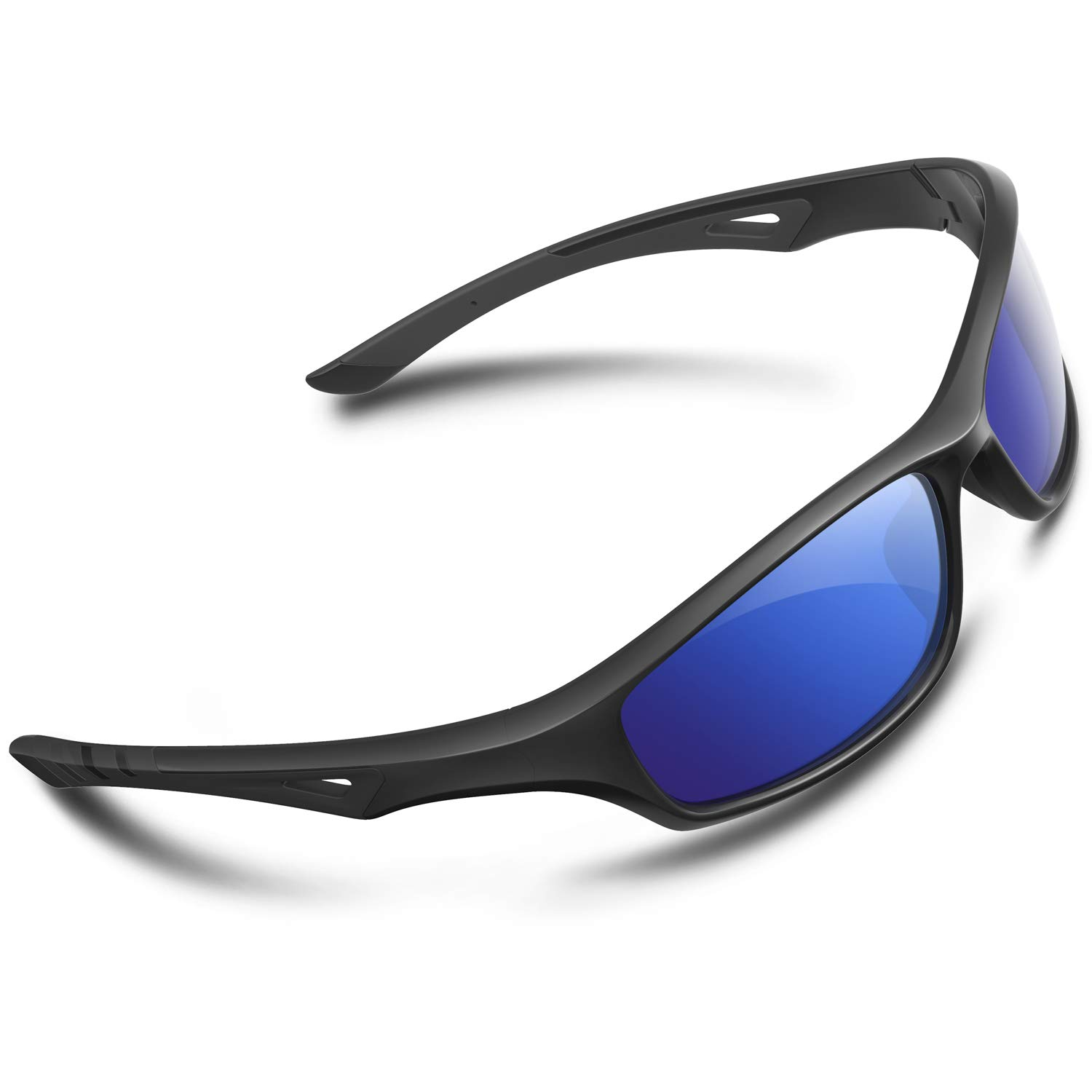 RIVBOS Polarized Sports Sunglasses Driving Glasses Shades for Men TR90 Unbreakable Frame for Cycling Baseball RB831 (RB842-Black,Blue Iced Lens)