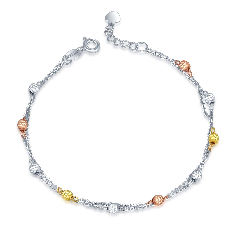 MaBelle 14K Tri-Color Gold Diamond-Cut Beads Double Anhor Chain Bracelet (6.5)