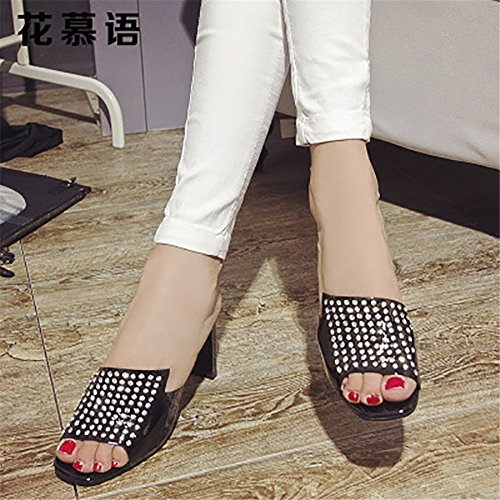 US with Pearl Luxury Black Slippers Star Five Sandals Heeled High Size Leather Shaped 6 Black Color and xUZwnCnq