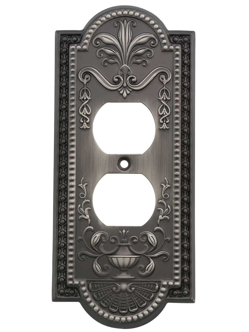 House of Antique Hardware R-010SE-282-AP Como Single Duplex Cover Plate in Antique Pewter