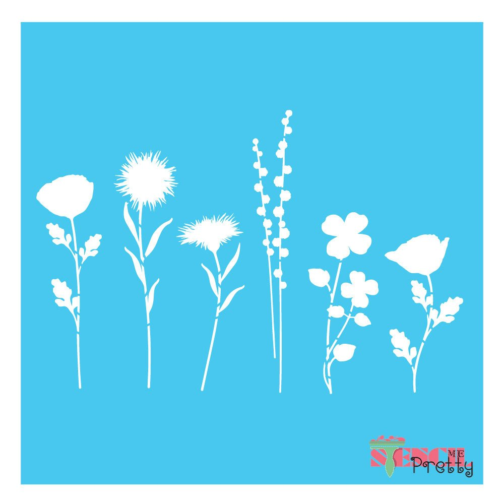Flower stems stencil - scrapbook and vintage decor (X