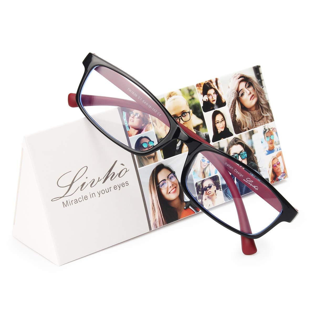 Livho Blue Light Blocking Glasses,Computer Reading Glasses for Women Men,Anti Glare Eye Strain Light Weight TR90 Frame Eyeglasses(+0.0 | No Magnification,LI1826-01) by livho