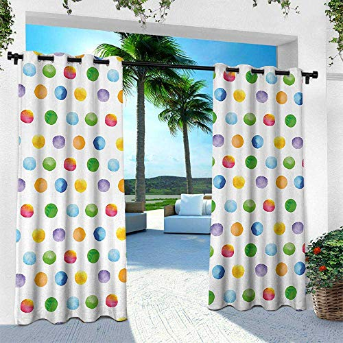 Hengshu Abstract, Thermal Insulated Water Repellent Drape for Balcony,Big Polka Dots Colorful Circles Watercolor Paintbrush Stylized Modern Artwork, W108 x L108 Inch, Multicolor