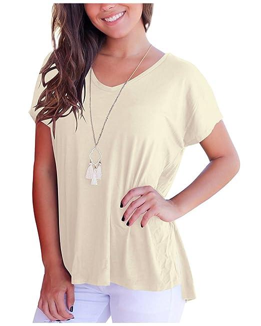 Imixcity Verano Camiseta de Manga Corta Blusas Tops V Cuello Básica Camiseta Casual Túnica Tops con