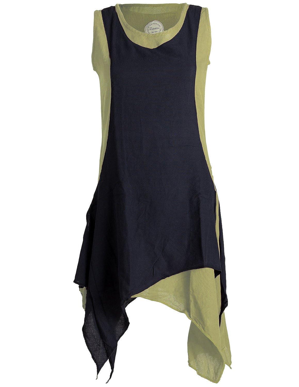 Vishes - Alternative Bekleidung - Ärmelloses Zipfeliges Lagenlook Kleid Tunika aus handgewebter Baumwolle B01JK3LKFQ Blausen & Tuniken Mangelware