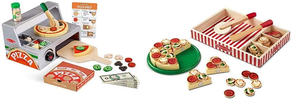 Melissa & Doug Wooden Pizza Counter & Pizza Party