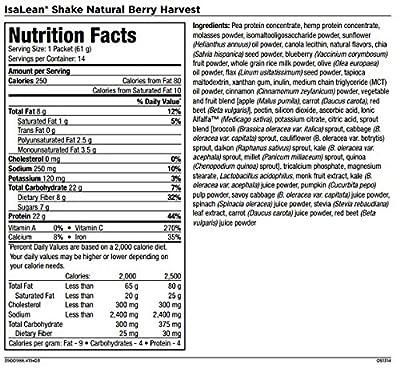 Isagenix IsaLean Shake Dairy Free Natural Berry Harvest Flavor 14 Packets 30.1 Oz