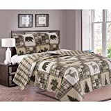L&M 3 Piece Tan Brown Deer Bear Quilt Full Queen Set, Rustic Plaid Hunting Themed Bedding Pine Trees Wild Animals Square Pattern Lodge Cabin Lightweight, Cotton Microfiber