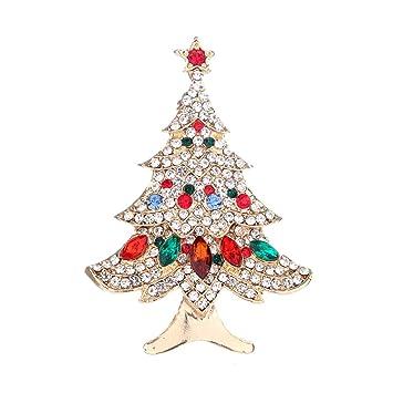 Creativo Árbol de Navidad Broches Broche Decoración Joyería Regalo Brillante Rhinestones Broche Moda Aleación de Moda
