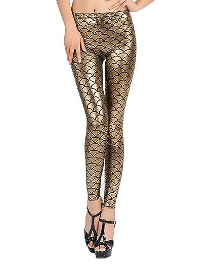 06791ee375ee0a Malachi Women's Golden Mermaid Leggings Fish Scale Leggings/Jeggings  Elastic Slim Pants Seamless Stretchy Skinny Pants Skinny Fit Stretchable  Ankle Length ...