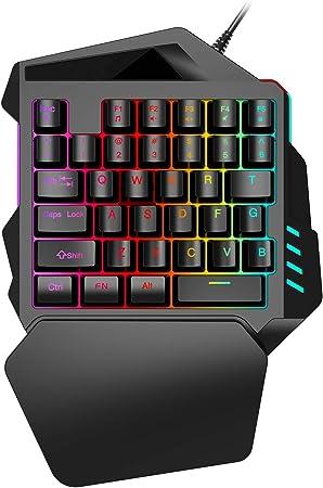 GWX con una Sola Mano del Teclado Interruptor RGB Light Blue 35 Teclas de Respuesta rápida Teclado para Juegos con Bluetooth para Xbox One / PS4 / PC/Mac/Los Jugadores portátiles,Keyboard: Amazon.es: Hogar