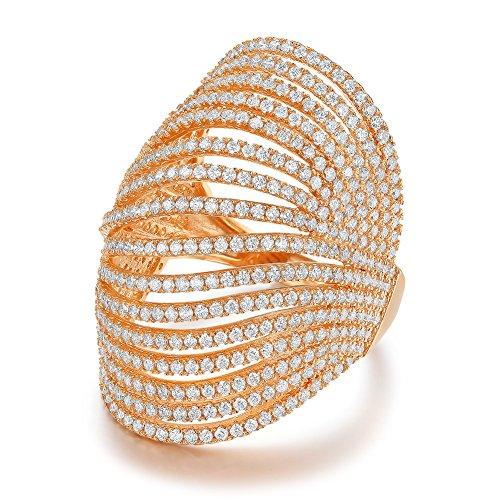 Serend Vintage Multilayer CZ Crystal 18k Rose Gold Plated Joint Finger Ring for Cocktail Party, Size ()