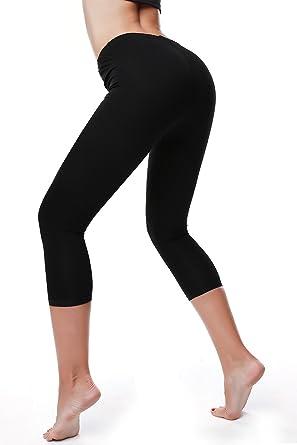Recorte de algodón Stretch Capri Leggings medias para mujer ...
