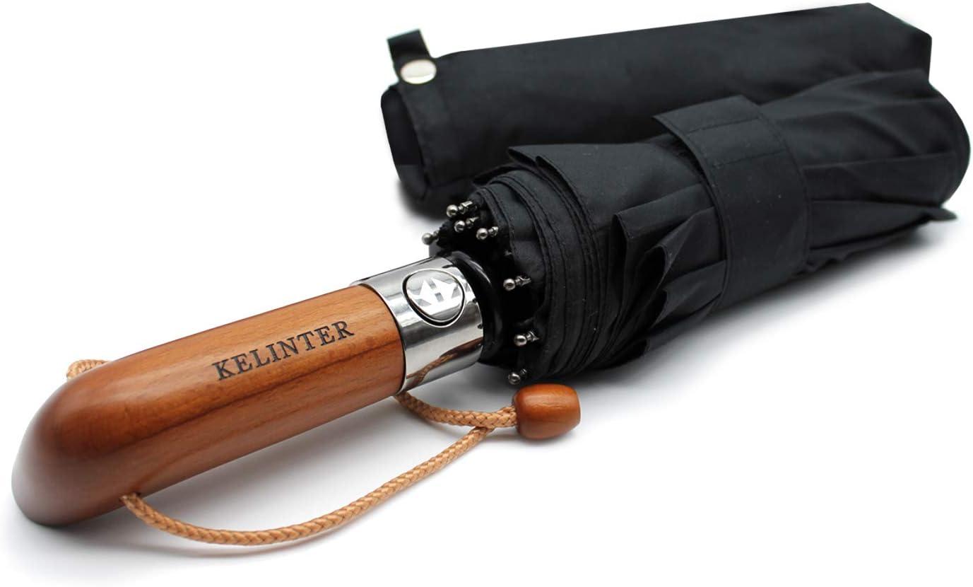 Paraguas Plegable Elegante Resistente al Viento-Automático e Impermeable- Mango de Madera Clásico -10 Varillas reforzadas Antioxidantes - para Hombre y Mujeres - Diseñado en Galicia
