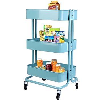 Homgrace Carrito con Ruedas, Carrito Auxiliar con 3 Nivel en metálica Multiusos para Cocina, baño, frutería, Lavabo (Azul): Amazon.es: Hogar