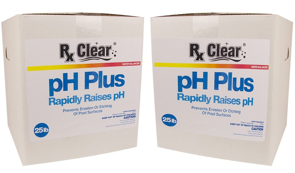 Rx Clear Swimming Pool pH Plus | Rapid Raises pH Levels | Quickly Correct Acidic Water Conditions | Water Balancer | Prevents Erosion Or Etching of Pool Surfaces | 50 Lbs by Rx Clear