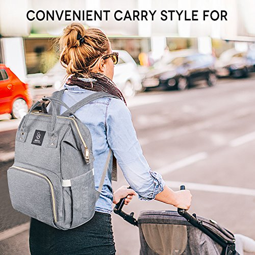 Athelain Diaper Bag,Multi-Function Waterproof Travel Backpack Nappy Bags for Baby Care, Large Capacity, Stylish and Durable (Gray) by Athelain (Image #7)