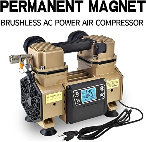 Tichop Portable Air Compressor, oil free, quite lightweight Brown