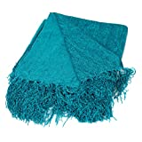 Internet's Best Chenille Throw Blankets | Teal | Ultra Soft Couch Blanket with Fringe | Light Weight Sofa Throw | 100% Microfiber Polyester | Easy Travel | Bed | 50 x 60