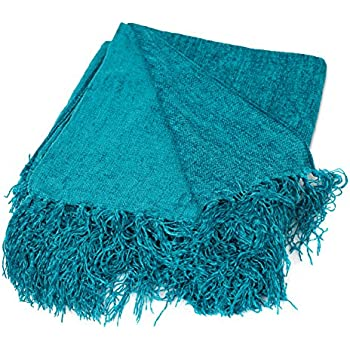 BirdRock Home Internetu0027s Best Chenille Throw Blankets | Teal | Ultra Soft Couch  Blanket With Fringe