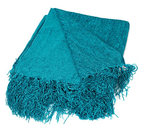 Internet's Best Chenille Throw Blankets - Teal - Ultra Soft Couch Blanket with Fringe - Light Weight Sofa Throw - 100% Microfiber Polyester - Easy Travel - Bed - 50 x 60