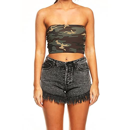 208167a345c Pafei Womens Blouse Women Strapless Elastic Camouflage Boob Seamless Tube  Tops Bra (Army Green