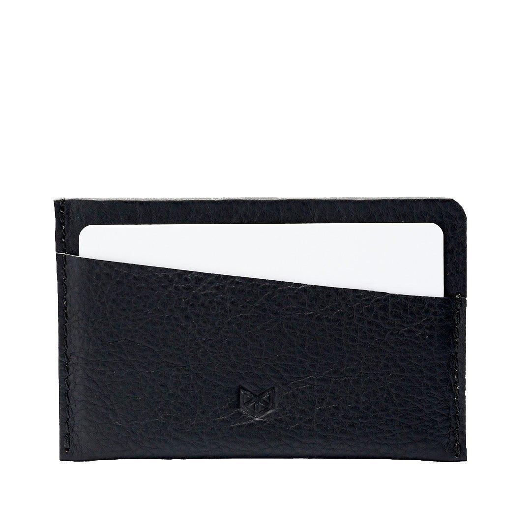Black Leather Card Holder, Business Card Pouch, Bills, Coins Minimalist Pocket Wallet, Slim Credit Card Wallet. Custom Monogram Gifts