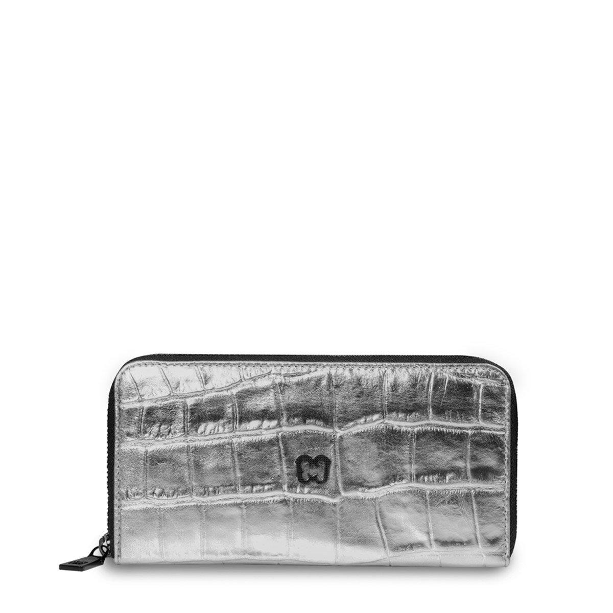 Eric Javits Luxury Fashion Designer Women's Handbag - Zip Wallet - Silver