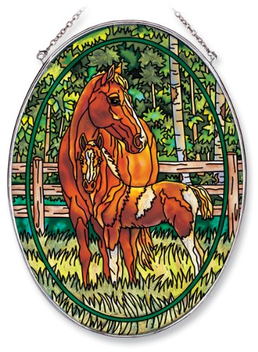 Amia 6637 Oval Suncatcher with Horse Design, Hand Painted Glass, 6-1/2-Inch by ()