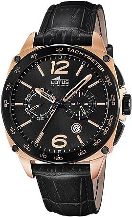 Reloj Lotus de hombre chapado en negro, con correa de piel y